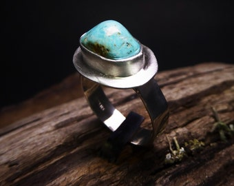 Small Turquoise Ring- Blue Turquoise Ring- Satin Finish Ring- Cripple Creek Turquoise