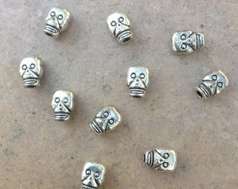 Skull Beads, Pewter Skull Beads, Dia de Los Muertos Beads, 9 x 6.5mm, 10 beads