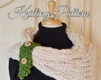 KNITTING PATTERN - Chunky Yarn - Adult and Child Size Snood or Cowl with 3 fasteners - EMMA - Excellent Teaching/Learning Pattern