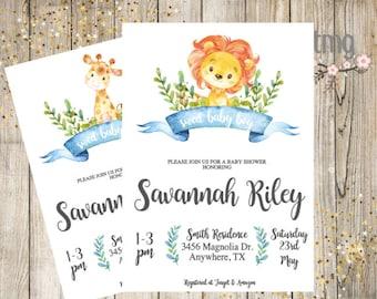 Baby Shower Invitation, Boy Baby Shower, Zoo Baby Shower, Giraffe, Lion, Baby Shower Invites, Digital File