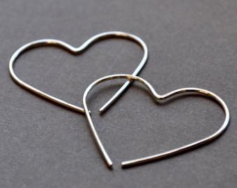 Heart Earrings. Handmade from eco sterling silver. Lightweight, minimalist earrings for everyday wear.