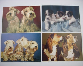 Dogs postcards set 1960s terrier basset hound card lot puppies recycle