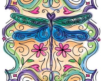 Dragonfly Window - Fine Art Print - Digital Watercolor - Giclée Fine Art Print