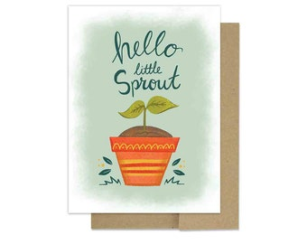 New Baby Card - Hello Lil Sprout - Congratulations New Parents - botanical baby card