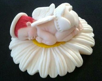 Fondant edible baby angel cake topper