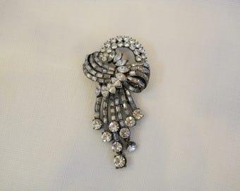 Vintage 1950s 50s Rhinestone Brooch Silver Tone Extra Large Pin Swirl Design 50s Jewelry 50s Accessories Costume Jewelry Statement Jewelry