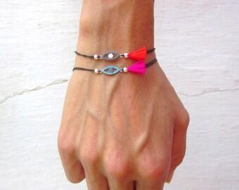 Dainty evil eye sterling silver bracelet, minimal silk cord stacking bracelet, elegant tassel bracelet, protection talisman armband with CZ