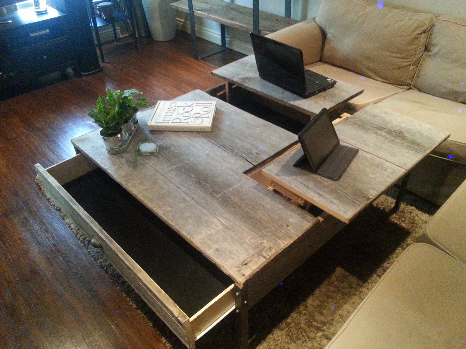 Double Pop up Barn Wood Coffee table