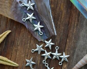 Antique Silver Mini Star Charms, 11x14mm, 2pcs / Nunn Designs, Star Pendants, Patriotic, Beach Charms, Sea Star, Jewelry Supplies