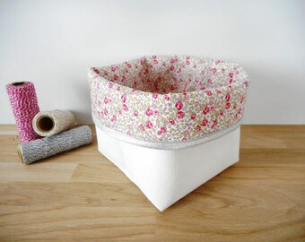 Storage basket small model, faux leather fabric and white Liberty Eloise pink, silver edge pouch, organizer, empty pocket, pouch, baby
