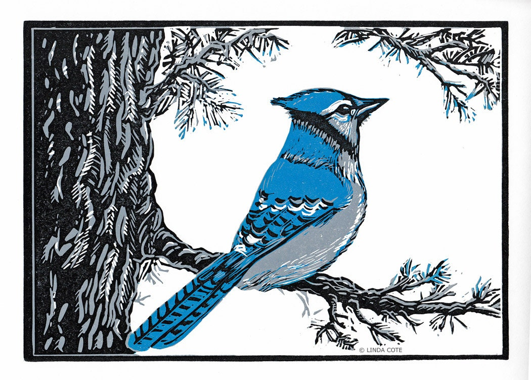 Blue Jays Perch 3 Color Linocut Relief Print Bird Hand