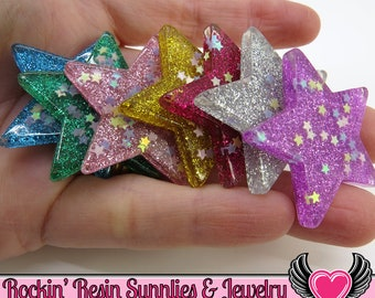Sequin GLITTER STAR Cabochons (6 pieces) 39mm large flatback resin Decoden Kawaii Cabochons, glitter stars, star cabochons, flatback stars