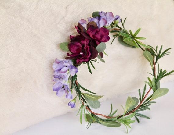 Green Flower Crown |  Lavender Flower Crown | Eucalyptus flower crown | Purple Flower crown | Bridesmaid Flower crown | Woodland Crown