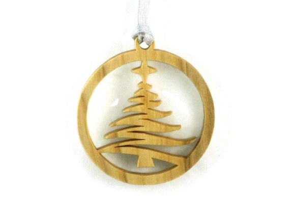 Christmas Tree With Shining Star Handcrafted From Poplar Wood