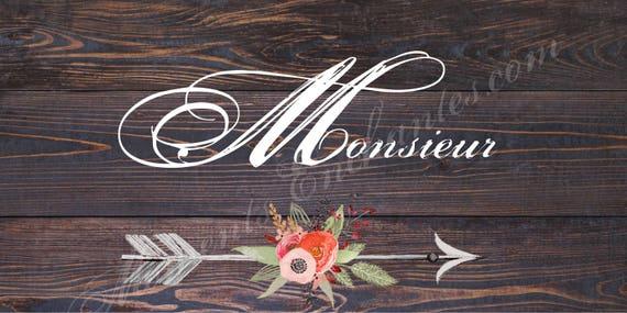 """Panneau mariage Baptême Bohème nature campagne """" Monsieur """"  flèche fleur watercolor aquarelle"""