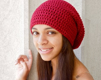 Slouchy Hat Crochet, Women, Teen, Men, Red, Claret, DK Cherry, Unisex, Ready To Ship,,