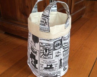 Vintage Newspaper Medium 21cm x 19cm With Handle Fabric Storage Container,Black, Cream & Calico