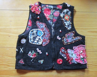 OOAK Embellished Vintage Corduroy Vest VICTORIAN MEDLEY - Fully Lined and Beaded - Upcycled Repurposed Recycled Clothing