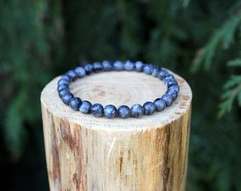 Larvikite Bracelet, Moonstone Bracelet, Larvikite beads, Beaded Bracelet, Men's/Women's Bracelet, Gemstone Bracelet, Larvikite Jewellery