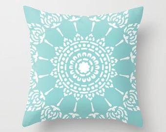 Blue Mandala Pillow  - Modern Home Decor - Medallion Accent Pillow - Decorative Pillow - By Aldari Home
