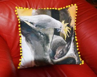 Possum Cushion Cover - Possum - Cockatoo - original art, decorative pillow, animal cushion, animal pillow, 45 x 45cm