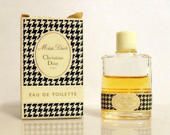 Vintage 1960s Miss Dior by Christian Dior 10 ml Eau de Toilette Mini Miniature Perfume and Box