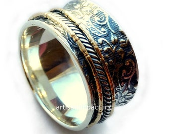 Sterling silver band, silver gold ring, unisex band, wedding band, spinners ring, meditation ring, two tone ring, rope band - We love. R2078