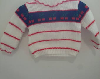 Vintage turtleneck sweater, cherries, size 12 months