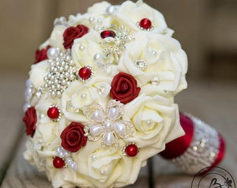 Red brooch wedding bouquet, broach bouquet, red ivory brooch bridal bouquet, jeweled bouquet, alternative bouquet, dark red brooch bouquet