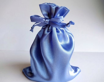 Satin Drawstring Bag, 4x6 inches, Periwinkle Blue, 4x4.5 in. interior, jewelry storage pouch, gift bag, wedding favor bag