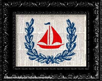 BOGO - Little Red Sailboat Vintage Dictionary Print Vintage Book Print Page Art Upcycled Vintage Book Art
