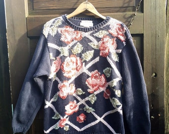 Vintage 90's Women's Black Floral Latice Pullover Sweater by Chrysantheme size medium