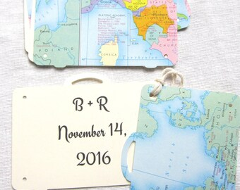 Suitcase Favor Tags, Luggage Wish Tags, Map/Travel Themed Layered Vintage Paper Tags, Custom Printing