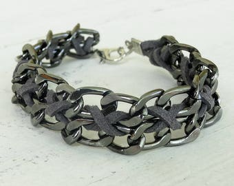 Chunky bracelet men mens hipster bracelet mens jewelry jewellery bracelet metal chain gray bracelet braided leather bracelet handmade