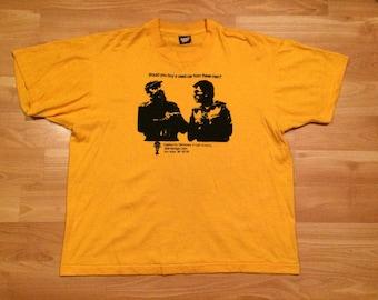 XL 90's Fidel Castro men's vintage T shirt yellow black Coalition for Democracy in Latin America politics 1990's Screen Stars