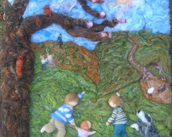 Custom Made-to-order Wall Hanging - Family Portrait and Other Subject Needle Felted fine art -  Wall hanging -painting Waldorf inspired