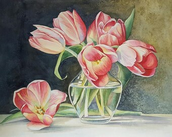 Bouquet of tulips. Original watercolor painting