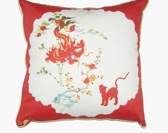 K is for Kakiemon from Alphabet Pillow Series, Persimmon Border with Dragon and Panther