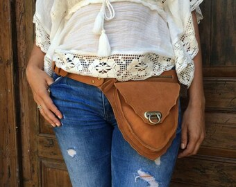 Leather belt bag / Hip bag / Leather fanny bags / Fanny pack / Boho bag/ black - taupe style available