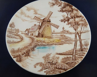 Windmill Dutch Scene Decorative Plate Holland House Japan