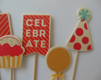 Birthday Cake Toppers - Red and Goldenrod Yellow - Wooden Birthday Themed Embellishments - Set of 6
