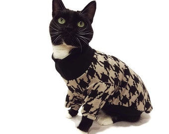 Black and Tan Houndstooth Cat Sweater-Cat Clothes-Houndstooth Cat Sweater-Cat Jumpers-Cat Apparel-Pet Clothes-Sweaters for Cats-Cat Shirts