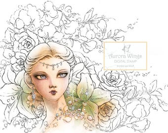 Digital Stamp - Diamonds - Spirit of Diamond w/ Roses, Lilies, and Sweet Peas - Fantasy Line Art for Cards & Crafts by Mitzi Sato-Wiuff