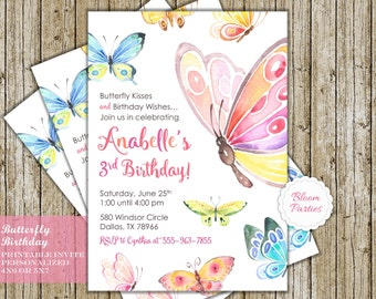 Butterfly Birthday Invitation Butterfly Kisses and Birthday Wishes Butterfly Birthday Party Digital Printable Invites