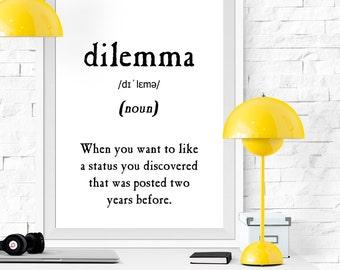 Dilemma Definition, Vocabulary Print, Printable Poster, Black And White  Print, Black White