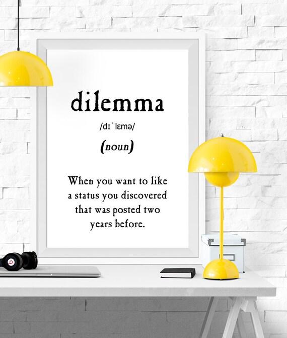 Captivating Dilemma Definition Vocabulary Print Printable Poster Black