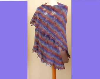 Hand knit lace triangular wool shawl