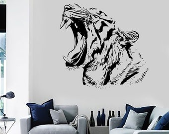 Wall Stickers Tiger Roar Head Jungle Africa Ethnic Decor Art Mural 1456dz