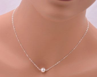 Set of 4 Floating Pearl Necklaces, 4 Sterling Silver Bridesmaid Necklaces, Real Silver Necklaces, Single Pearl Necklace Bridesmaid Gift 0084