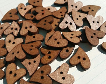 """Wood Heart Buttons - Dark Wooden Sewing Hearts Buttons - 7/8"""" Wide"""